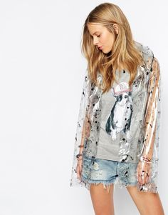 Brat & Suzie Clear Hooded Festival Rain Mac With Raining Cats And Dogs Print