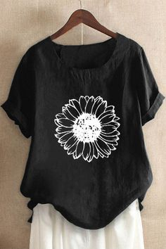Casual Sunflower Print Paneled Short Sleeves Blouse - Shopingnova