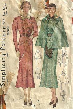 Simplicity 1916 | ca. 1936 Skirt, jacket, Cape Suit