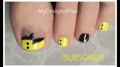 😍  Fun Yellow Toenail Art Design | Abstract Pedicure ♥ Toe Nail Art, Toe Nails, Toenail Art Designs, Nail Art Videos, Nail Tech, You Nailed It, Pedicure, Swatch, Nail Polish