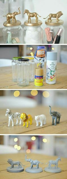 10 Brilliant DIY Home Decor Ideas, Check Out The Tutorial: Gold Animal Jars  And More!
