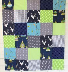 Baby Boy Blanket, Nursery Decor, Minky Blanket, Woodland Nursery, Navy Blue,Grey,Gray, Lime Green, Deer, Buck, Arrows, Tribal, Teepee, Tepee