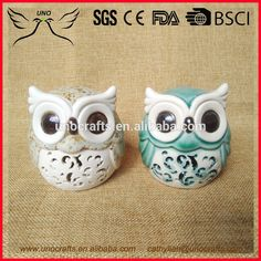 set of 2 Decorative ceramic owl for tabletop decor , colourful owl ornament