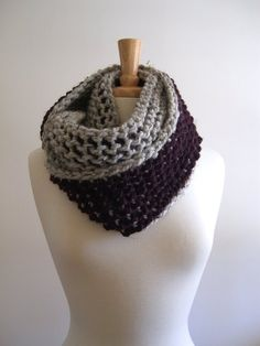 Items similar to heather gray and eggplant infinity scarf / cowl - tunisian crochet on Etsy Tunisian Crochet Stitches, Eggplant Purple, Loop Scarf, Crochet Patterns, Crochet Ideas, Tree Designs, Heather Gray, Etsy Store, Cowl