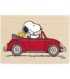 Snoopy KNOWS A GOOD CAR A VW red convertible