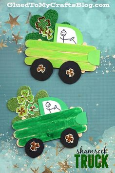 Patrick's Day Truck – Kid Craft Popsicle Stick St. Patrick's Day Truck – Kid Craft – Shamrock Filled Trucks – St Patty's Day DIY – Kids Craft Idea for St Paddy's Day – Lucky Filled Truck Crafts Glue Crafts, Easy Diy Crafts, Diy Crafts For Kids, Arts And Crafts, Simple Crafts, Creative Crafts, Decor Crafts, Popsicle Stick Crafts, Popsicle Sticks