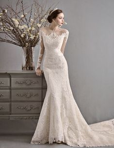 This vintage-inspired gown from La Poeme featuring chic lace detailing is beyond incredible! This vintage-inspired gown from La Poeme featuring chic lace detailing is beyond incredible! Dream Wedding Dresses, Bridal Dresses, Wedding Gowns, Wedding Bride, Set Fashion, Vintage Inspiriert, Groom Attire, Mermaid Dresses, Wedding Attire