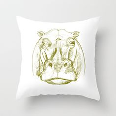 hippo Throw Pillow by jenapaul - $20.00