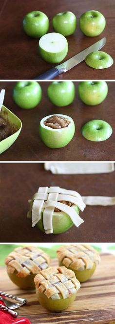 No sharing necessary with these individual apple pies! Pour your pie filling into hollowed out apples, garnish with cinnamon, and top with a lattice crust to make these easy and impressive desserts. T (Baking Desserts Treats) Just Desserts, Delicious Desserts, Dessert Recipes, Yummy Food, Impressive Desserts, Fall Desserts, Sweets Recipe, Awesome Desserts, Easy To Make Desserts