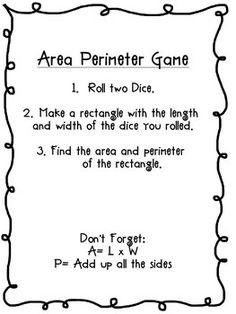 AREA AND PERIMETER GAME WITH GRID PAPER AND DICE - TeachersPayTeachers.com Math Tutor, Math Teacher, Math Classroom, Teaching Math, Teaching Ideas, Classroom Ideas, Grade 6 Math, Fourth Grade Math, Grade 3