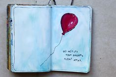 Art Journal red balloon float away dreams art journal sketch Watercolor