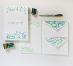 Lovely teal stationery set