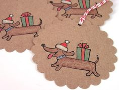 Little Dachshund - Christmas Kraft Tags