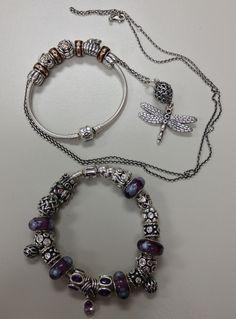 PANDORA Bracelets and Dragonfly Necklace.