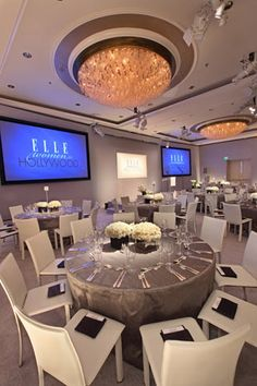 Sleek white event decor