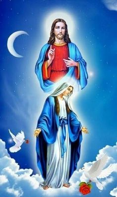 Jesus and Blessed Mother 💕 Jesus And Mary Pictures, Pictures Of Jesus Christ, Religious Pictures, Angel Pictures, Mary Jesus Mother, Blessed Mother Mary, Mary And Jesus, Blessed Virgin Mary, Miséricorde Divine