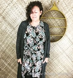 Fall is made for a cozy layered outfit! This black Sarah cardigan with is big pockets brings the personal style of this Carly dress from LuLaRoe to a whole new level! And it's comfortable to boot! I would love to style you!