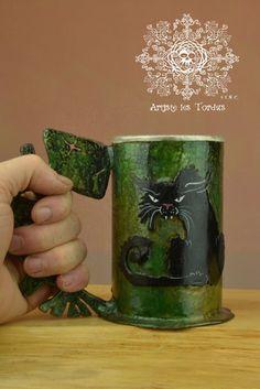 Beer tankard black cat, stein , tankard , mug , beer , forged , iron , gift , geek witch,pagan,handmade,artistelestordus