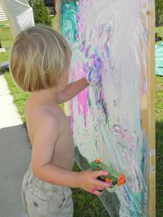 Shaving cream and water paints in squirts guns and plexiglass!