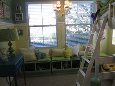 Loft bed, could be a study area beneath. Love the additional window seating.