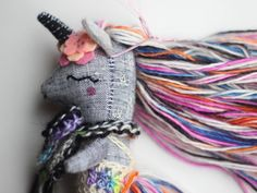 Rainbow Unicorn by Liberty Lavender Dolls Diy Unicorn Doll, Unicorn Gifts, Cute Unicorn, Unicorn Party, Rainbow Unicorn, Textile Sculpture, Fabric Animals, Cute Plush, Sewing Dolls