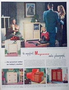 Magnavox Radio Phonograph  40 s Vintage Print Ad   family  Color Illustration  Life Magazine Art