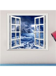 Stormy Night At Sea Window View Removable 3D Wall Sticker