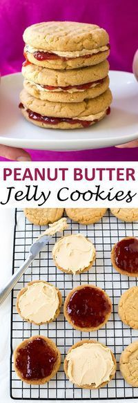 Peanut Butter and Jelly Sandwich Cookies! Peanut Butter cookies sandwiched…