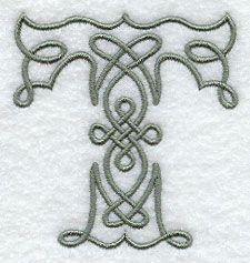 Los diseños de bordado en la Biblioteca del bordado! - Celtic Knotwork Letra T - 3 pulgadas