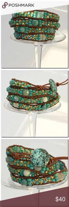 "NWW Handmade 4 Wrap Bracelet A beautiful 4x wrap bracelet made in Chan Luu style with Czech glass seed beads in Aqua mix and Accent Beads. Each bead is hand stitched to 1.5 mm natural leather cord .A handcrafted Button is used for closure and adds a beautiful accent. Two loops offer adjustable closure. Finished length to first loop is 30 1/4"" and 31 1/4 "" to second loop. Handmade Jewelry Bracelets"