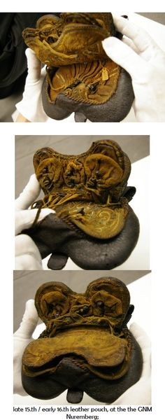 late 15.th / early 16.th leather pouch, at the the GNM Nuremberg; Belt Pouch, Pouch Bag, Leather Pouch, Leather Purses, Medieval, 14th Century, Leather Working, Leather Craft, Renaissance