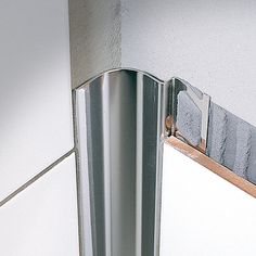 Find out all of the information about the PROFILITEC product: aluminum edge trim / for tiles / outside corner ROUNDCORNER RO. Steel Edging, Aluminum Uses, Tile Edge, Tile Trim, Edging Ideas, Corner Wall, Wood Bathroom, Bath Remodel, White Wood