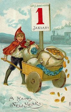 Good Fortune in the New Year ~ vintage holiday postcard Vintage Holiday Postcards, Old Postcards, Vintage Cards, New Year Wishes, New Year Greetings, New Year Card, Christmas Images, Christmas Crafts, Xmas