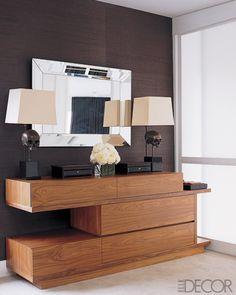 Love this dresser! Love the dark wood wall!