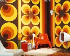 ABSOLUT ECHT RETRO Vlies Tapete 60er 70er Jahre braun 7013-12 orange gelb Kreise