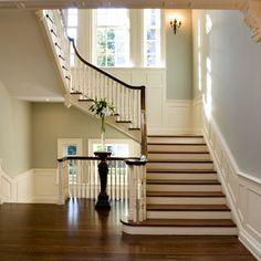 Wainscoating, paint color, dark handrail...Pefection.