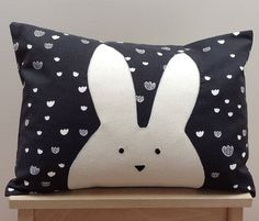 Rabbit pillow with hand embroidered bunny face on cloud background adds a Scandinavian or woodland theme to any nursery décor or childrens room. Perfect on a chair, bed, in a reading corner, or to make a pillow mountain! GOOD TO KNOW: Front and back side of pillow is made using