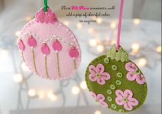 Felt Flora Ornaments with free PDF download #diy #felt #crafts #ornaments #felt_flora #christmas #holidays