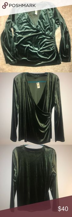"""NWT! Talbots faux wrap velvet top. Size XL NWT!! Pictures do not do justice to the richness of the green color. It is absolutely gorgeous! Crushed velvet. Wrap style shirt with ruching at one side. The last picture is the same shirt but in a different color.   Approx measurements - laying flat: Armpit to armpit - 22"""" Length from top of shoulder down - 26"""" Talbots Tops"""