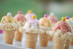 Kid Size Ice Cream Cones  Candy Melts or Almond Bark  Sprinkles  Sixlets - I used pastel sixlets that I found around Easter time. Any small round candy would do.  1 batch of Kellogg's Rice Krispies Treats(use the recipe on the box)