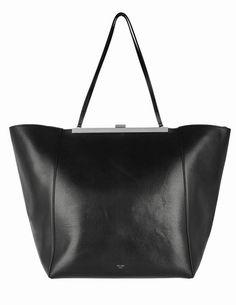 f8188b647f5ada Clasp Cabas Large Crackled Black Glazed Calfskin Leather Shoulder Bag