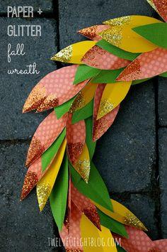 diy fall wreath, fall wreath, wreath ideas, how to make a fall wreath, fall decor, fall porch, decorate for fall (Cute idea, why not use real leaves with glitter?)