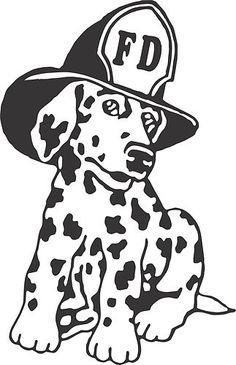 Dalmatian Fire Dog Firehouse Fireman Car Truck Window Wall Vinyl Decal Sticker