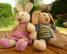 Rabbits PDF Knitting Pattern ROBERT and ROSIE by LoveFibres, $4.00