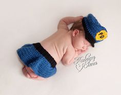 Police Girl Newborn Prop/  Police Girl Newborn Hat and Skirt/ Newborn Crochet Photo Prop