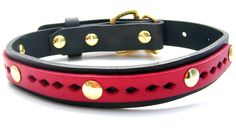 Leather Dog Collar - red on black by HiHorseRanch on Etsy https://www.etsy.com/listing/94898291/leather-dog-collar-red-on-black