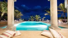 Riviera Maya Haciendas, Hacienda Mágica - Large Swimming Pool Beachside At Night