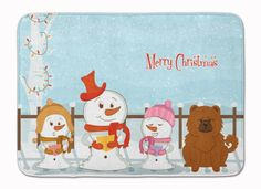 Merry Christmas Carolers Chow Chow Red Machine Washable Memory Foam Mat BB2473RUG