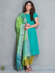 Buy Green Mangalgiri Kurta by Jaypore Cotton Apparel Tunics & Kurtas Online at Jaypore.com
