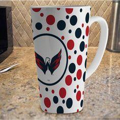 NHL - Washington Capitals 16oz White Polka Dot Latte Mug